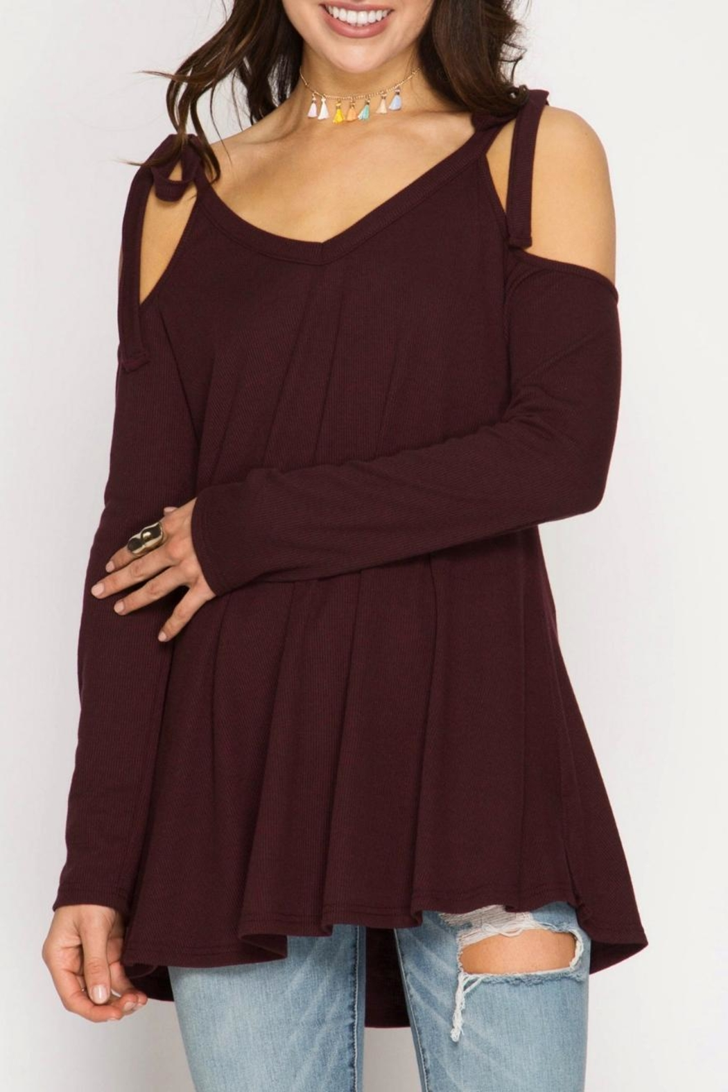 She + Sky Tie Shoulder Tunic - Main Image