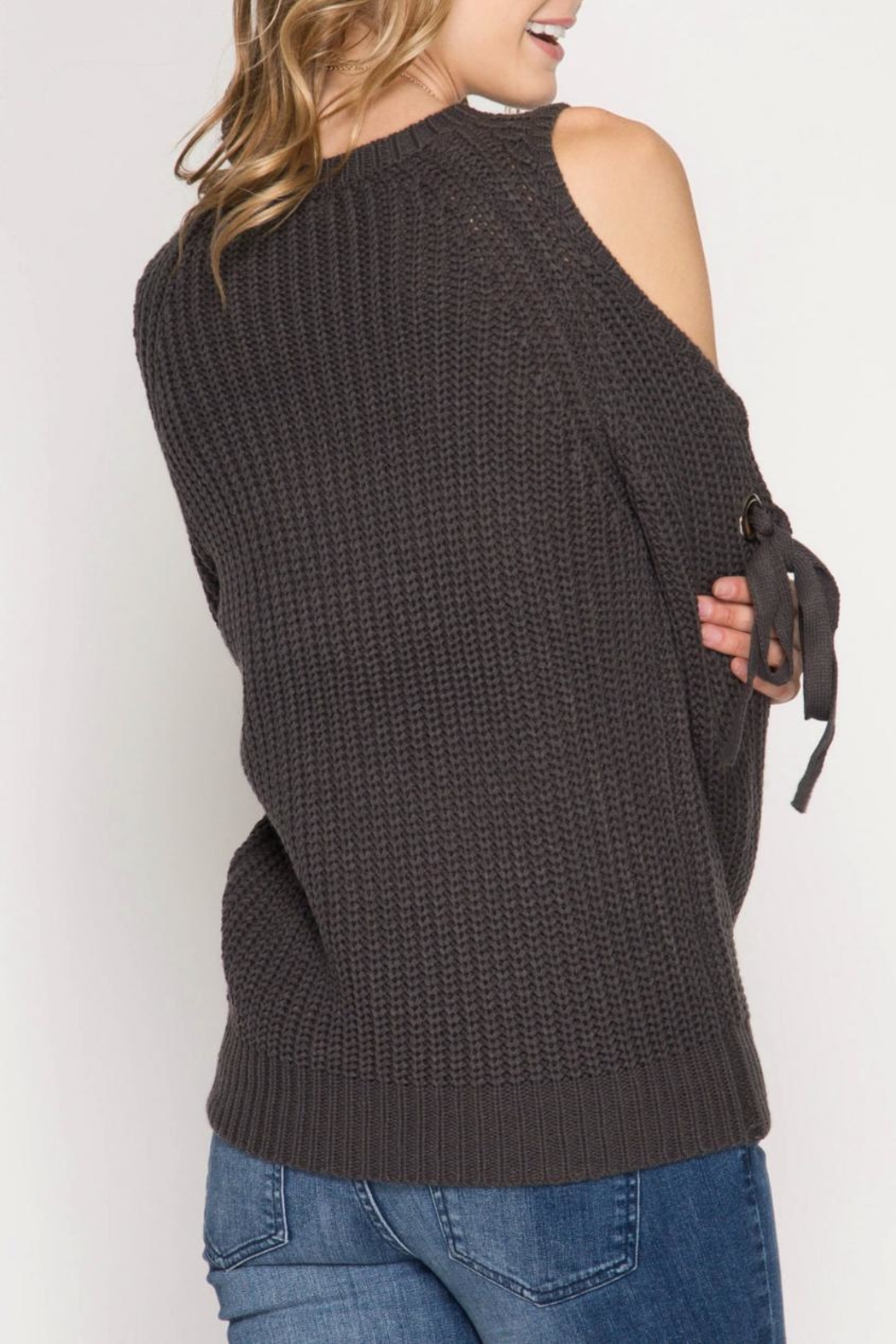She + Sky Tie Sleeve Sweater - Front Full Image