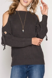 She + Sky Tie Sleeve Sweater - Product Mini Image