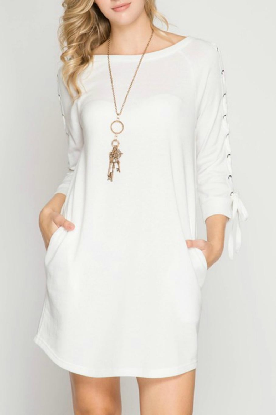 She + Sky Tie-Sleeve Sweatshirt Dress - Main Image