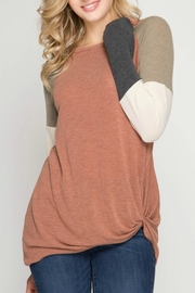 She + Sky Tie Sweater - Front cropped