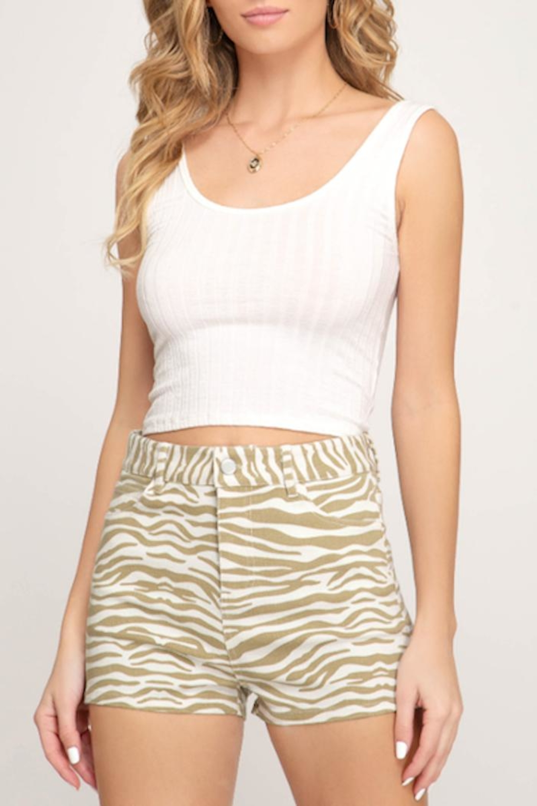 She + Sky Tiger Shorts - Front Cropped Image