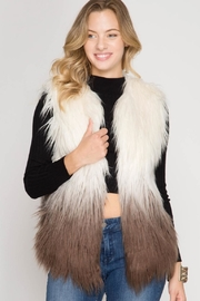 She + Sky Colored Faux Vest - Front full body