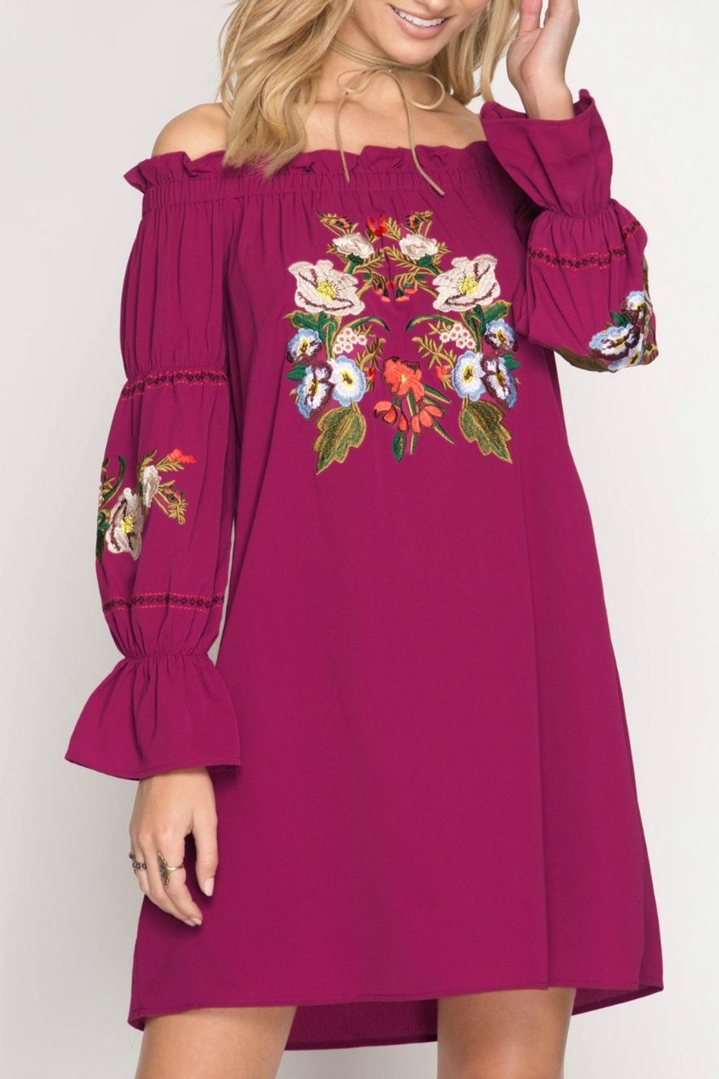She + Sky Tunic Embroided Dress - Front Cropped Image
