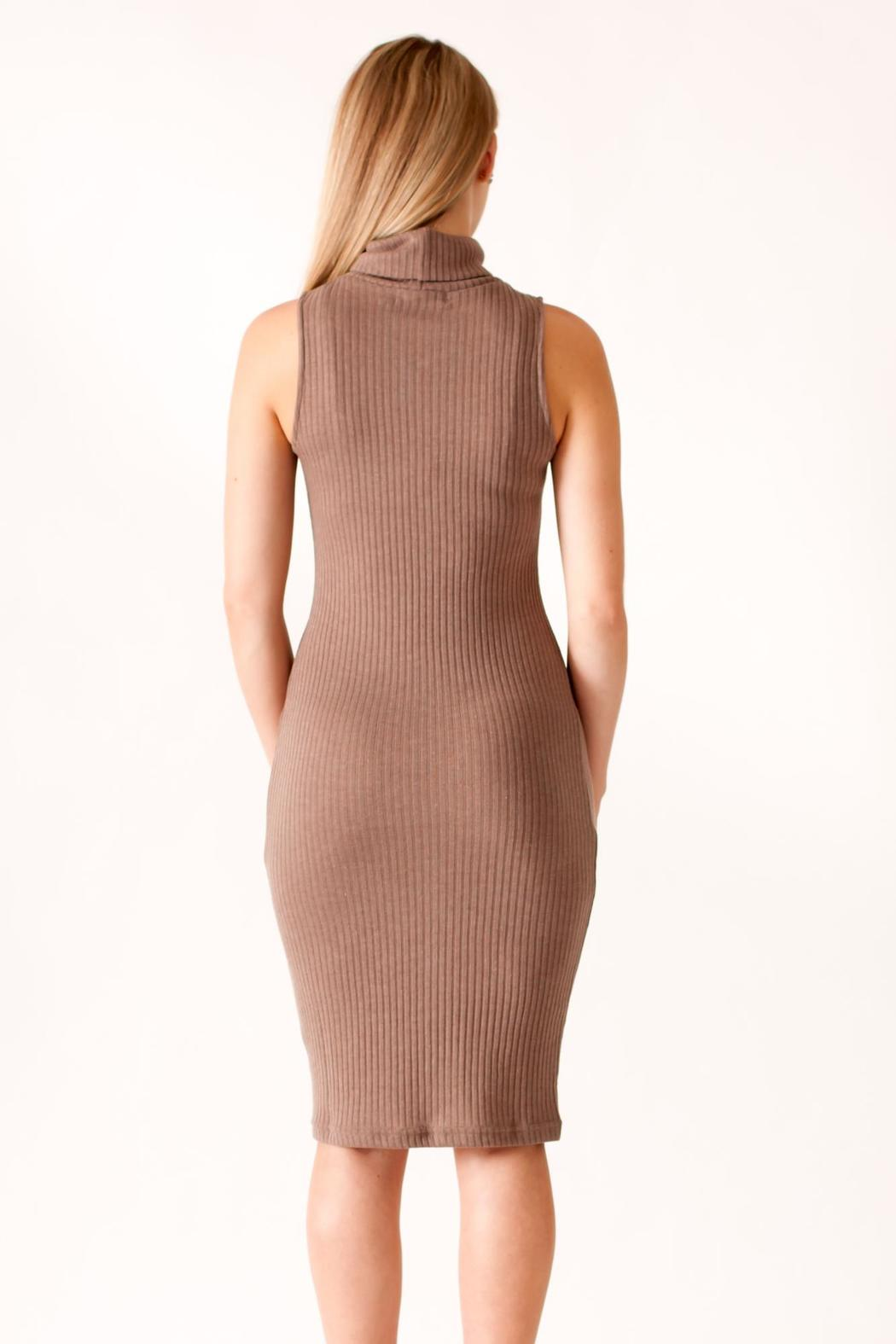 She + Sky Turtleneck Bodycon Dress - Back Cropped Image