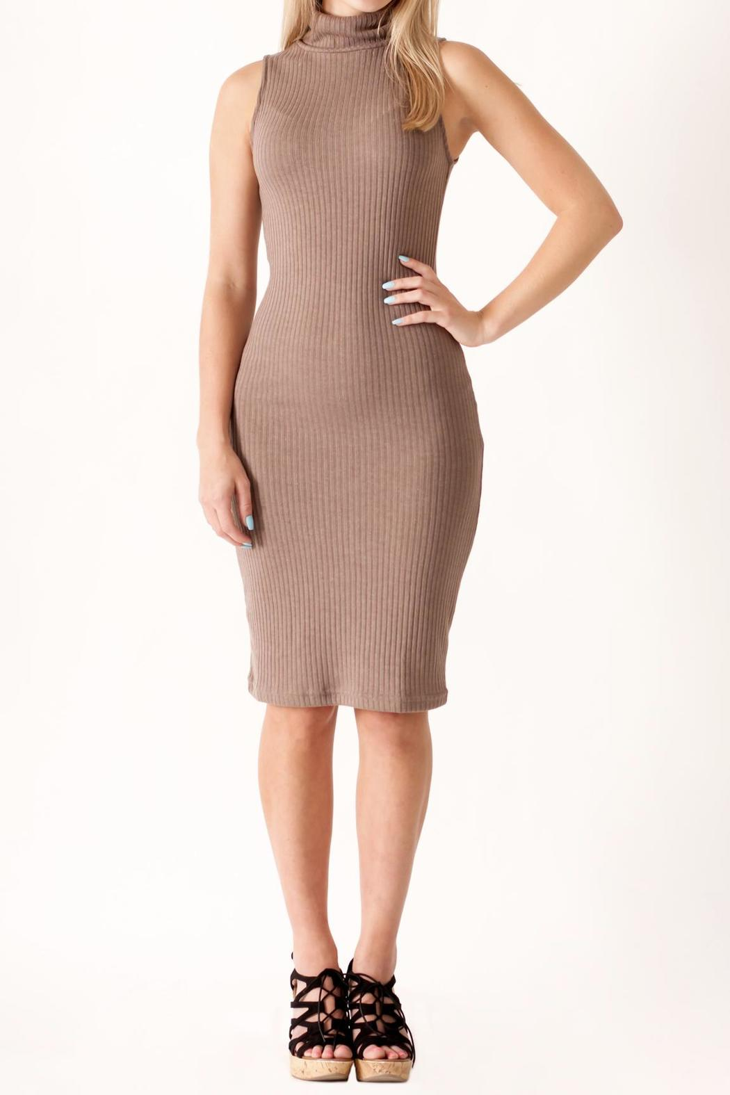 She + Sky Turtleneck Bodycon Dress - Front Full Image