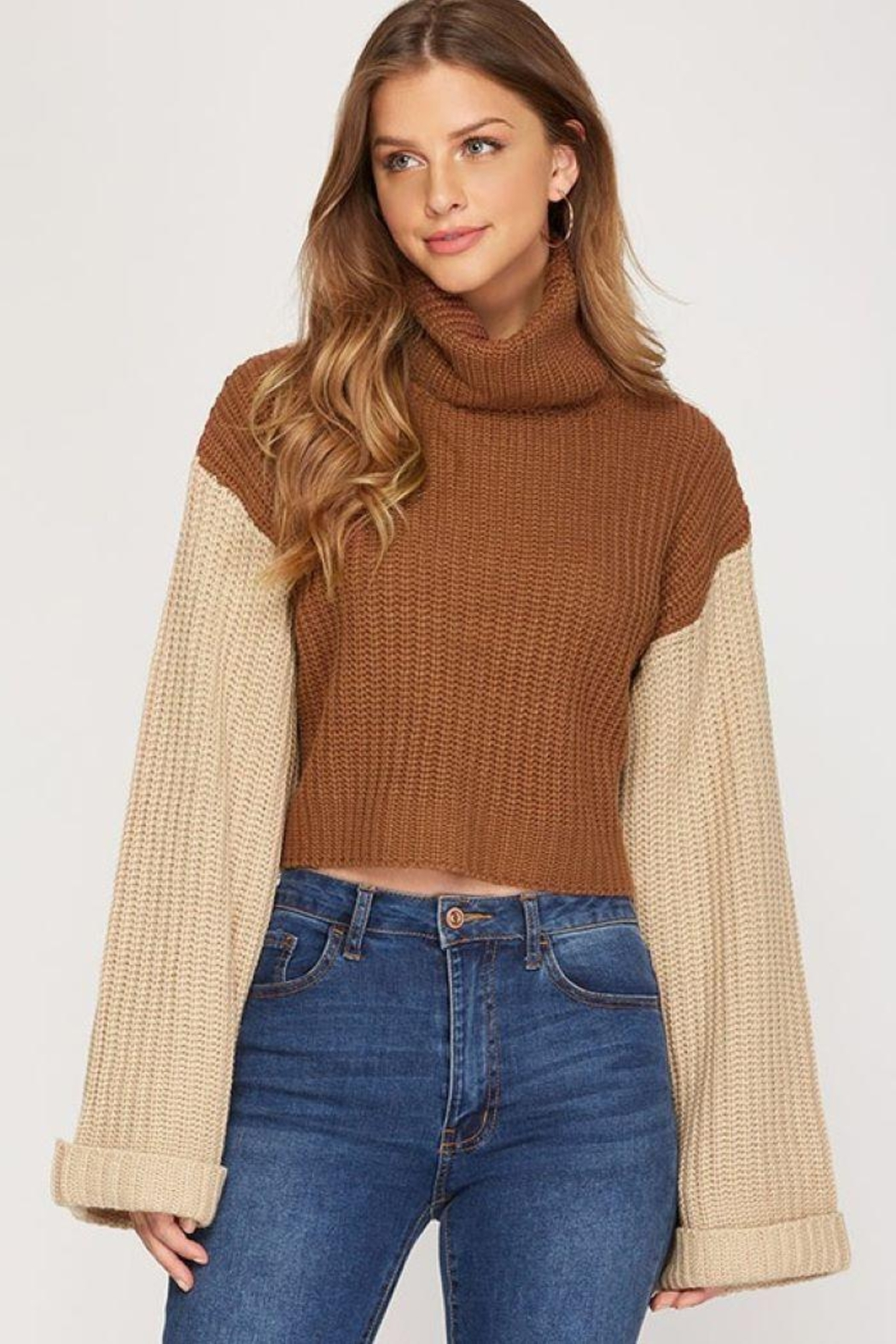 She + Sky Turtleneck Cropped Pullover - Main Image