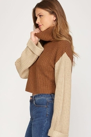 She + Sky Turtleneck Cropped Pullover - Front full body