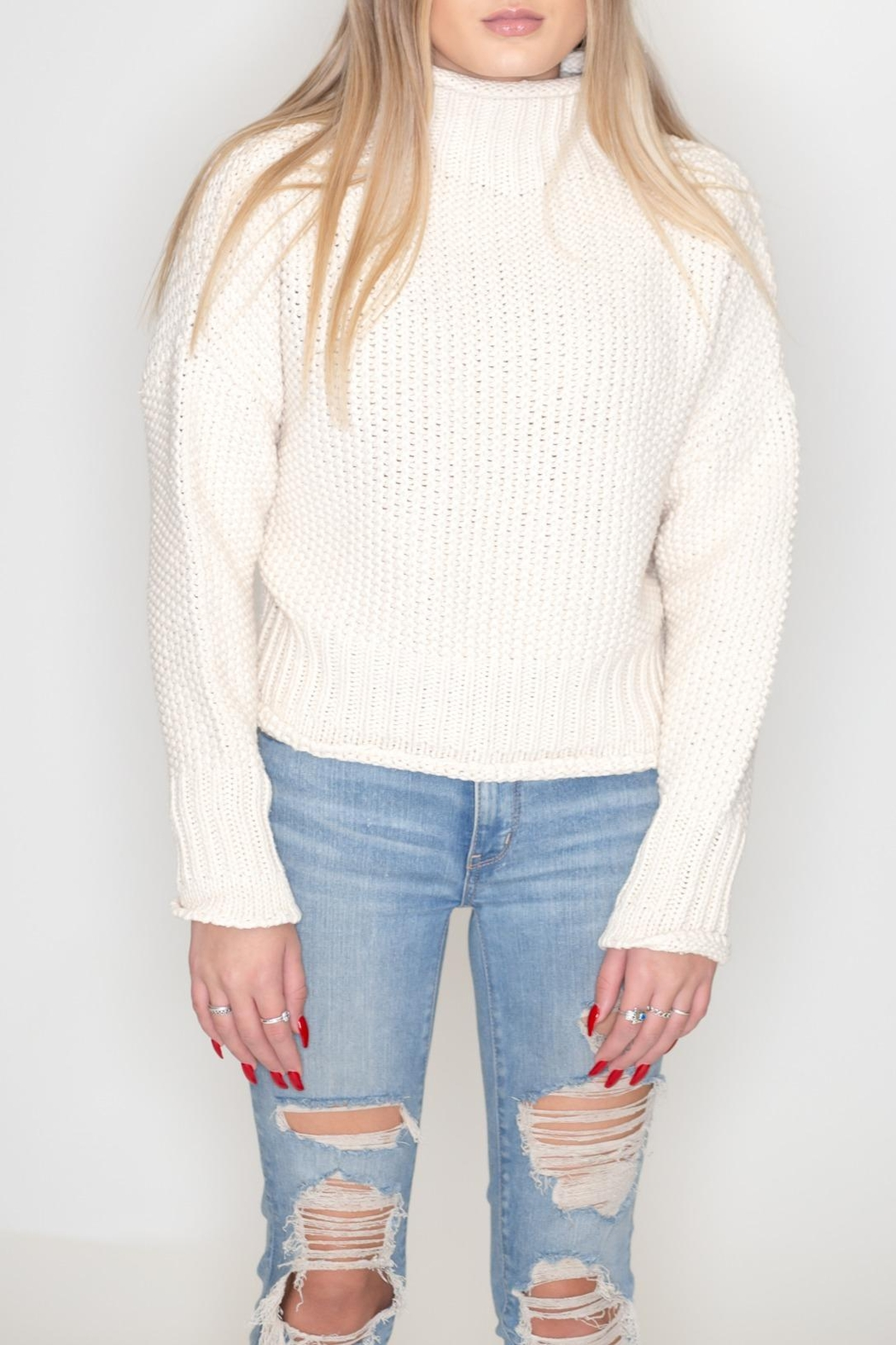 She + Sky Turtleneck Sweater - Front Cropped Image