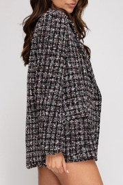 She + Sky Tweed Double-Breasted Jacket - Front full body