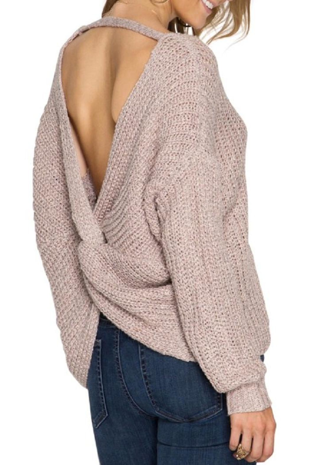 She + Sky Twist Back Sweater - Front Cropped Image