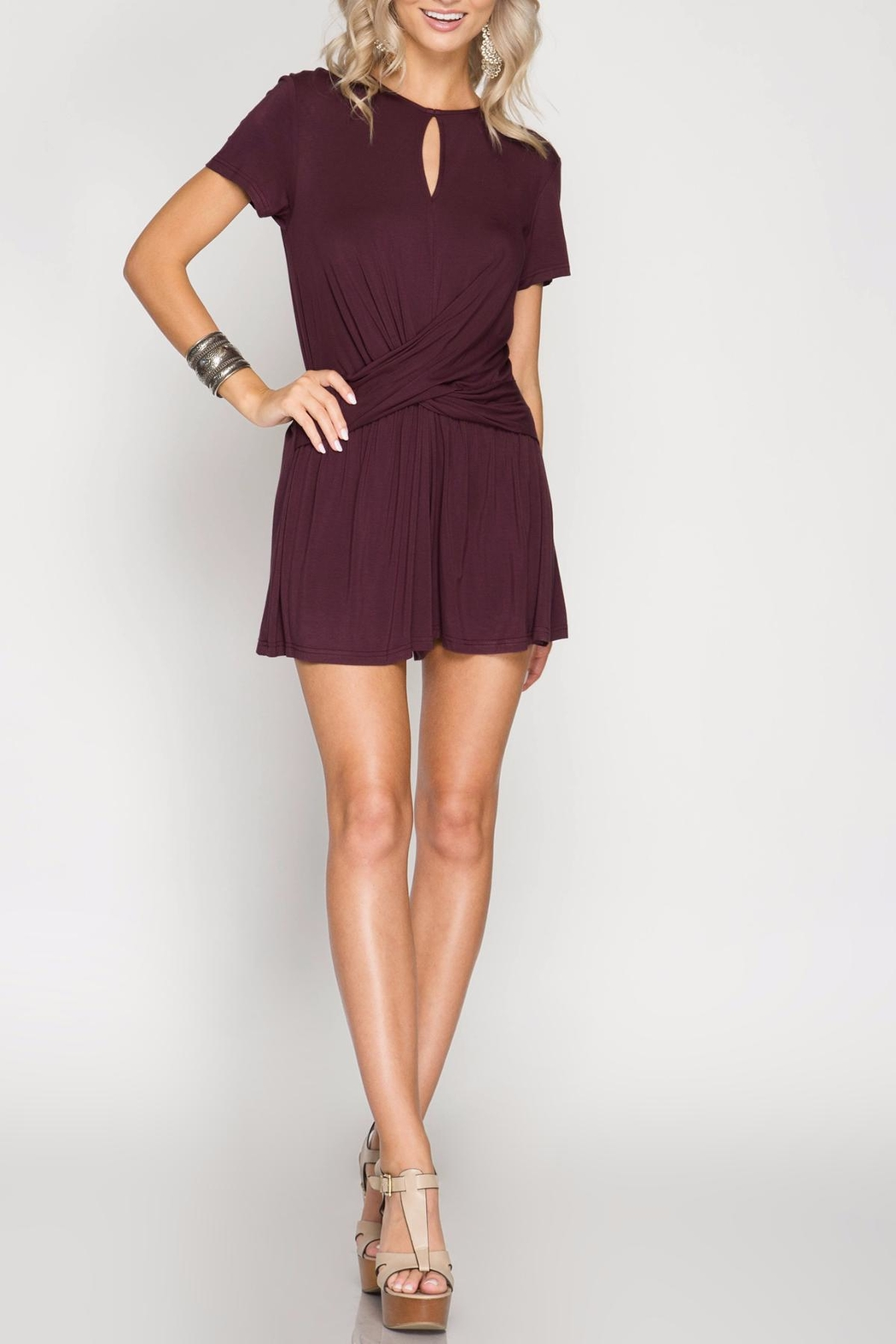 She + Sky Twist Front Romper - Main Image