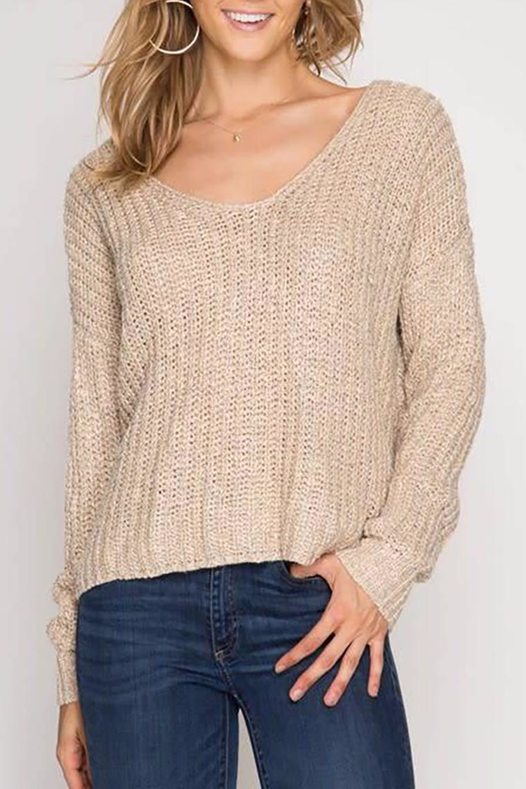 She + Sky Twisted Sweater - Front Full Image