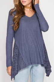 She + Sky V Neck Lace Top - Product Mini Image