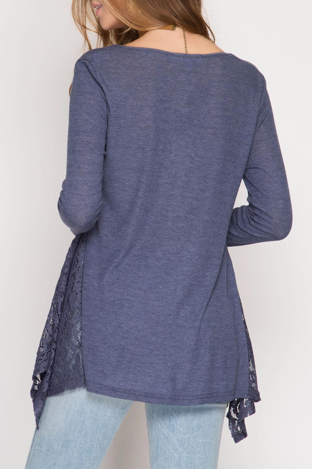 She + Sky V Neck Lace Top - Front Full Image
