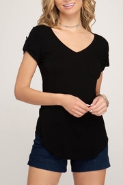 She + Sky V-Neck Pocket Tee - Product Mini Image