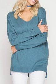She + Sky V Neck Tunic Sweater - Product Mini Image