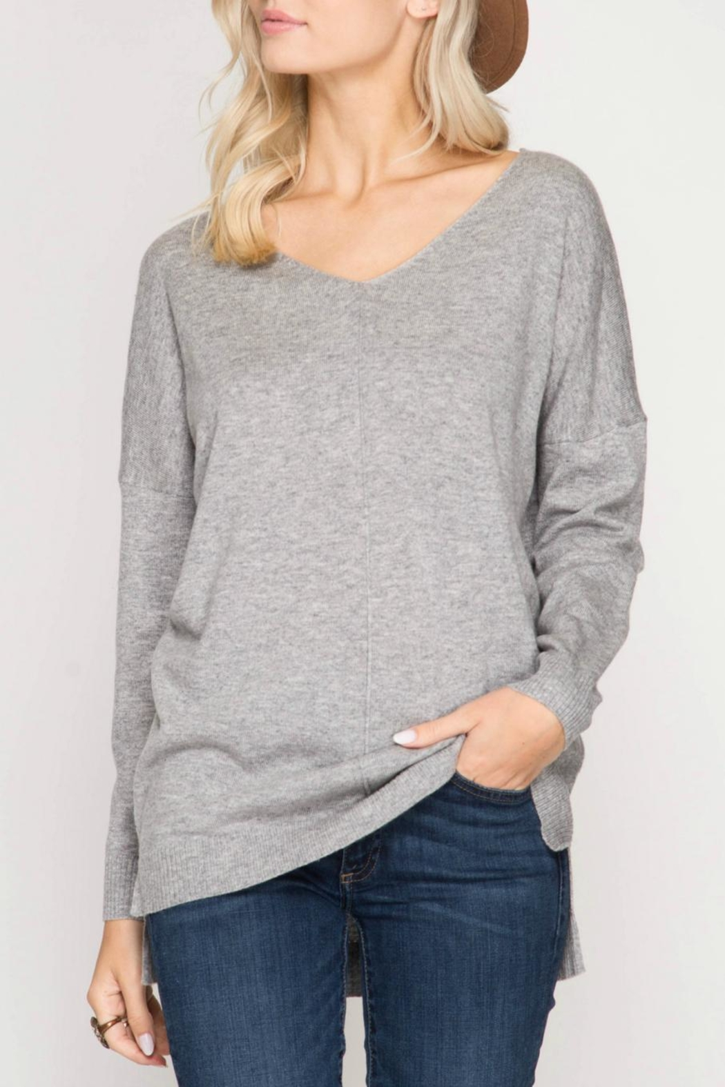 She + Sky V Neck Tunic Sweater - Front Cropped Image