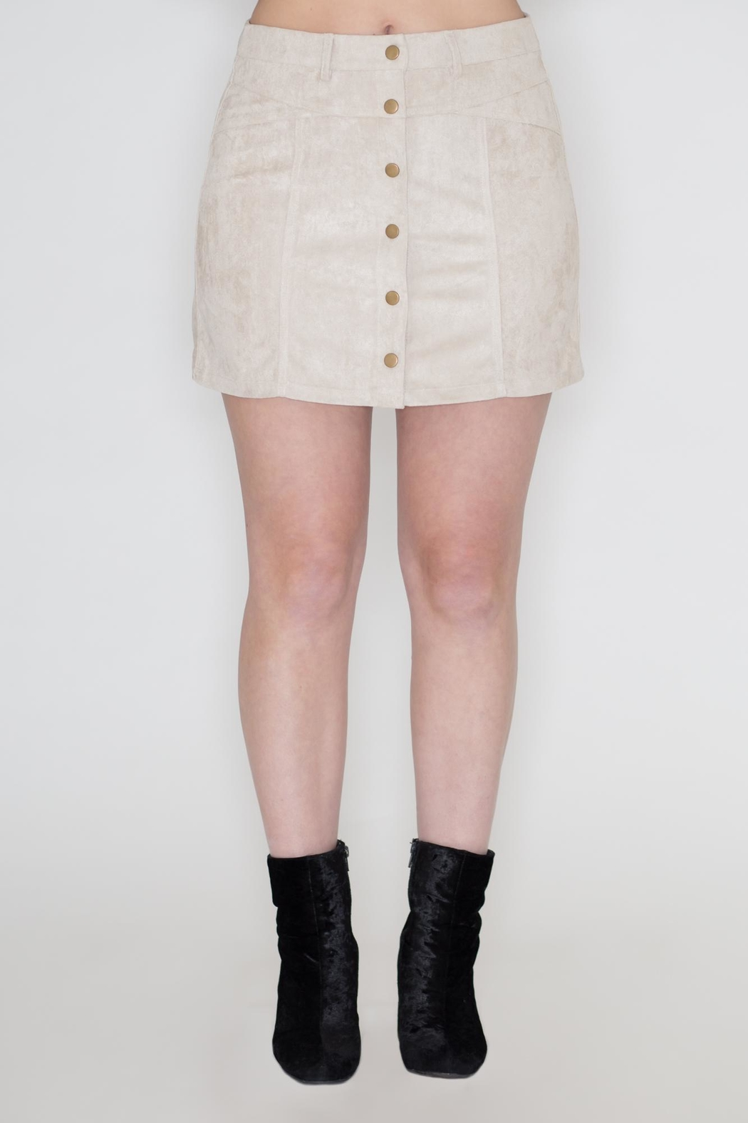 She + Sky Vegan Suede Skirt - Front Cropped Image