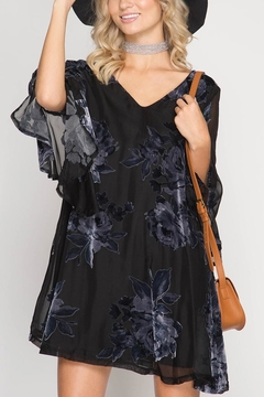 Shoptiques Product: Velvet Bell-Sleeve Dress