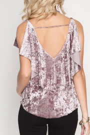 She + Sky Velvet Ruffle Top - Front full body