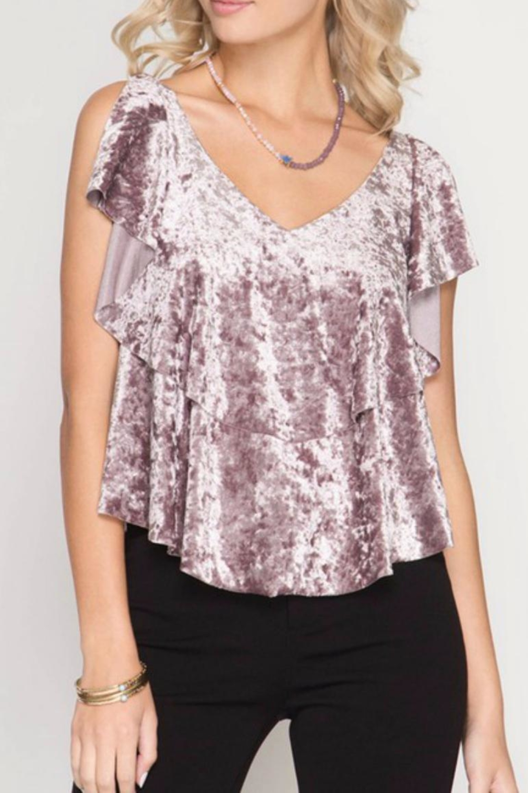 She + Sky Velvet Ruffle Top - Front Cropped Image