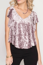 She + Sky Velvet Ruffle Top - Front cropped