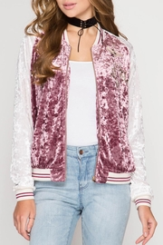She + Sky Velvet Track Jacket - Product Mini Image