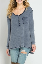 She + Sky Waffle Button-Down Top - Product Mini Image