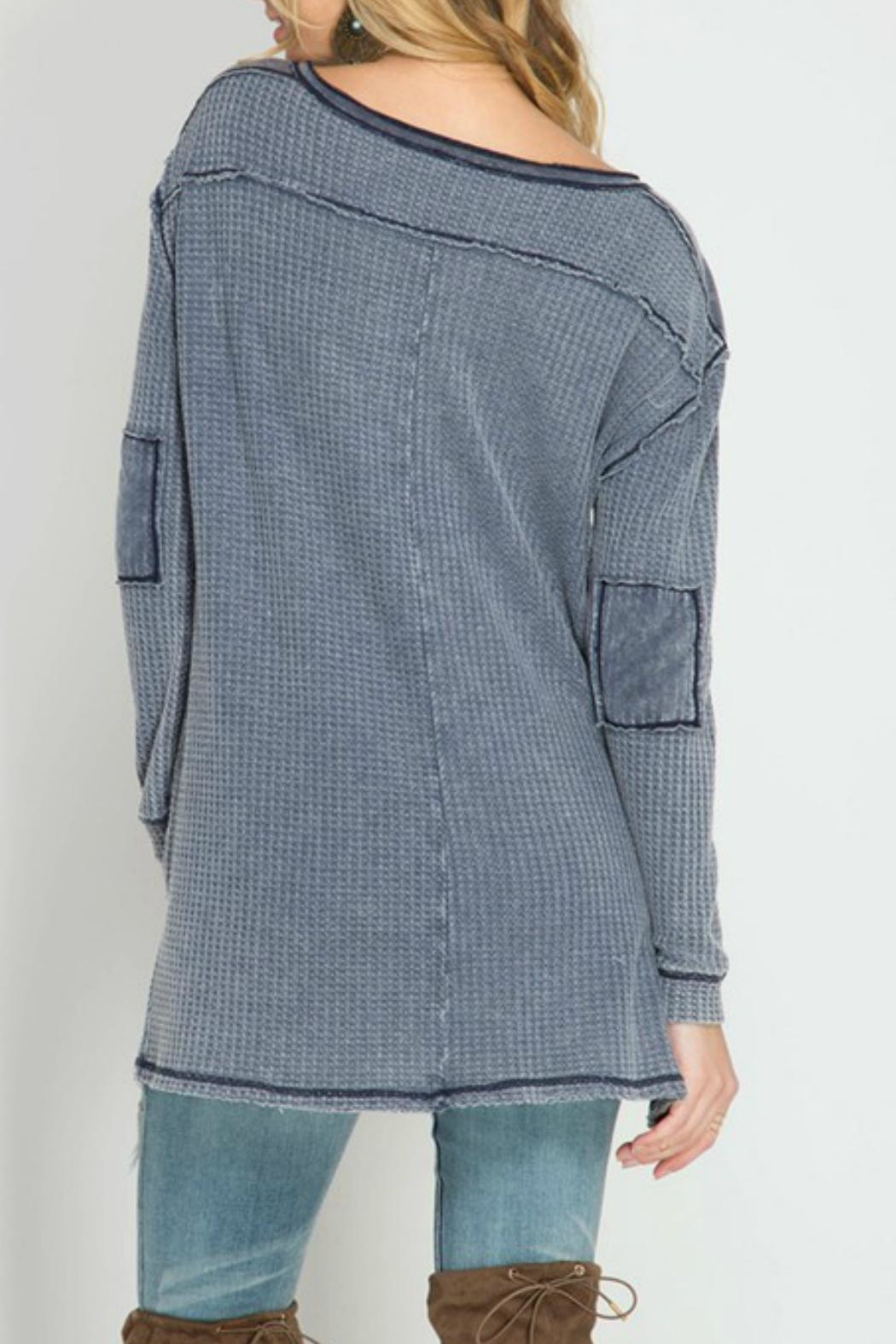She + Sky Waffle Button-Down Top - Front Full Image