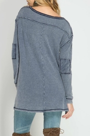 She + Sky Waffle Button-Down Top - Front full body