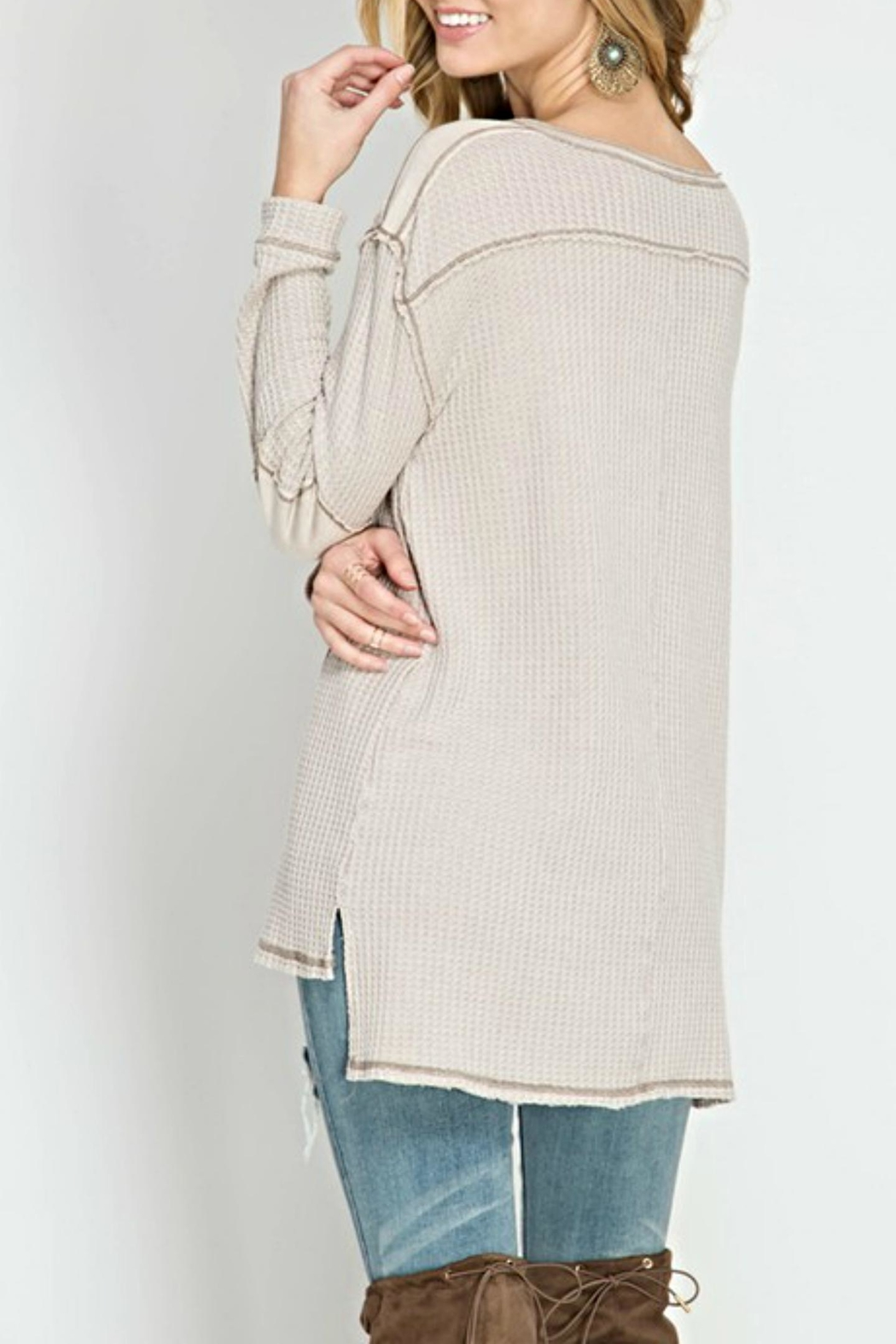 She + Sky Waffle Henley Top - Front Full Image