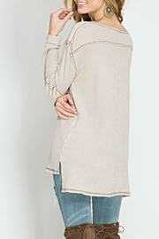 She + Sky Waffle Henley Top - Front full body