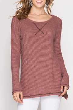 She + Sky Waffle Thermal Top - Product List Image