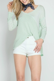 She + Sky Waffle Thermal Top - Product Mini Image