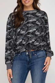 She + Sky Waist Tie Top - Front cropped