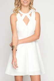She + Sky White Textured Dress - Product Mini Image
