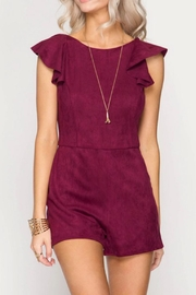 She + Sky Wine Suede Romper - Product Mini Image