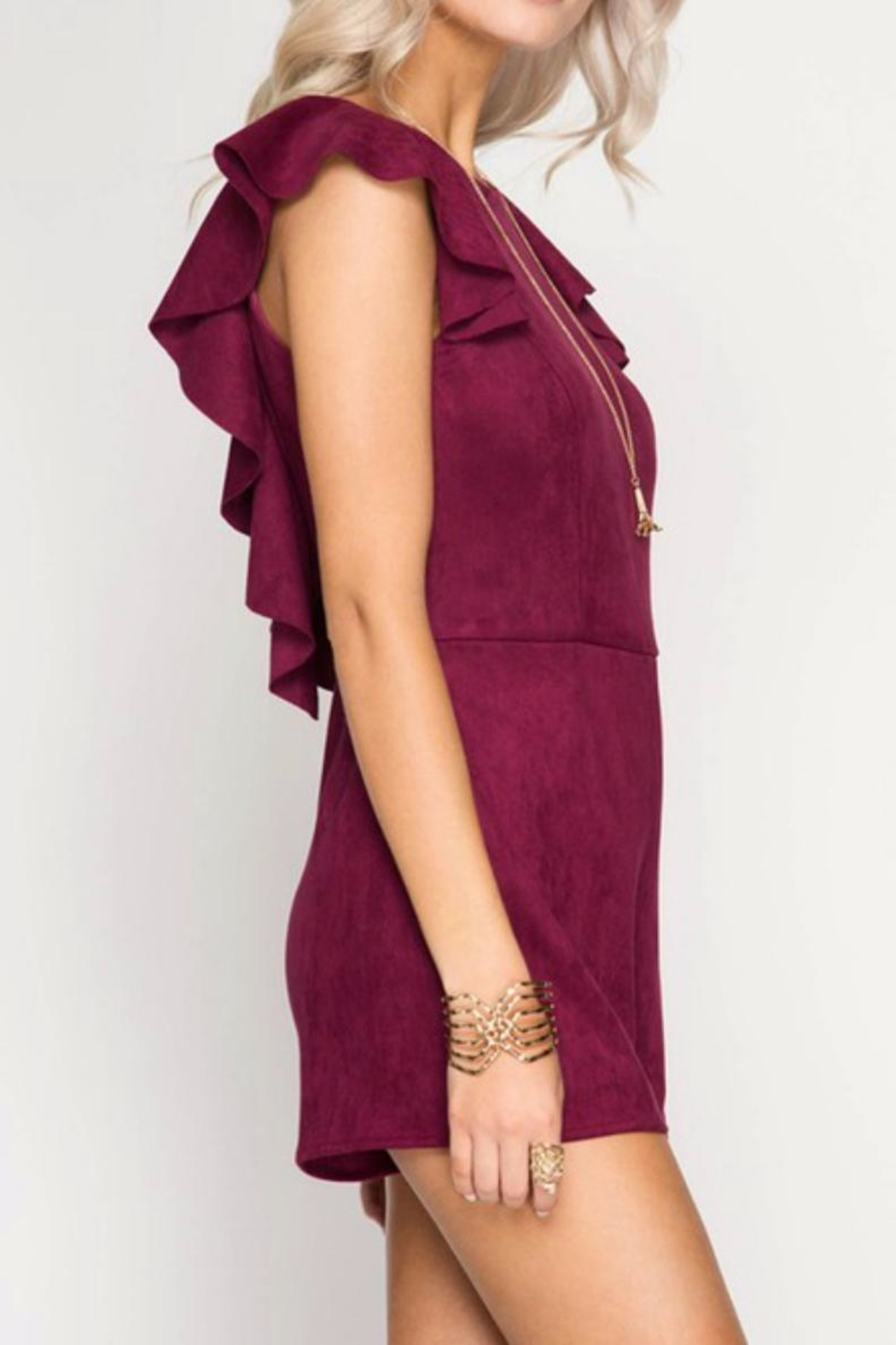She + Sky Wine Suede Romper - Front Full Image