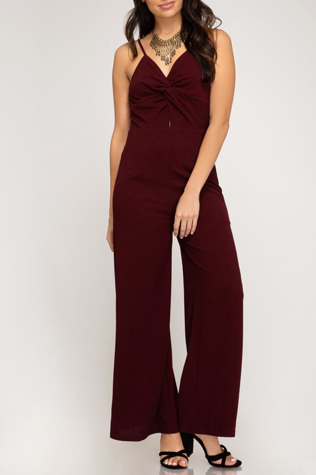 She + Sky Wine Wide-Leg Jumpsuit - Front Cropped Image