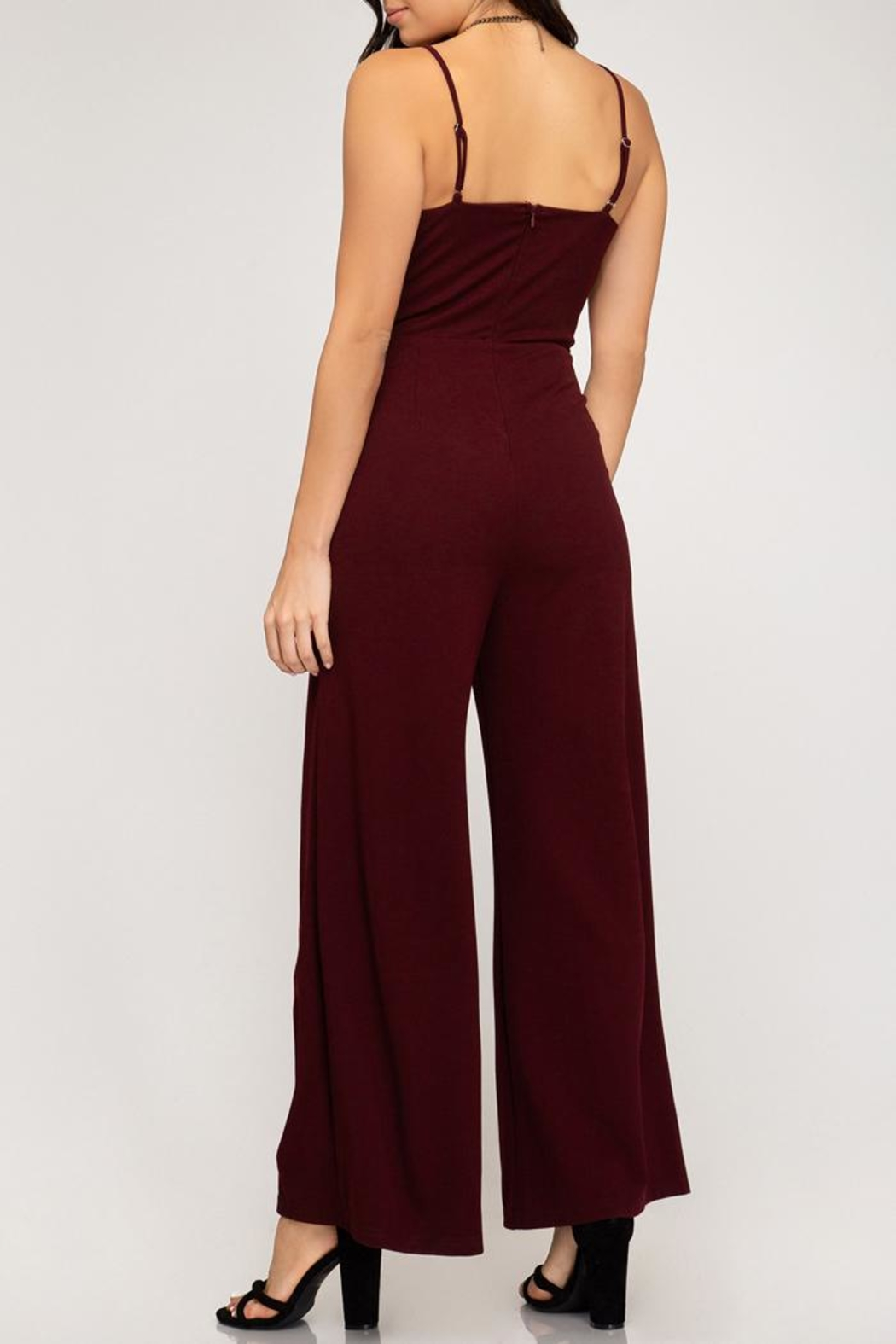 She + Sky Wine Wide-Leg Jumpsuit - Front Full Image