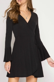 She + Sky Wrap Dress - Front cropped