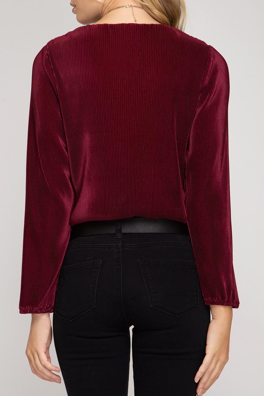 She + Sky Wrap Front Bodysuit - Side Cropped Image