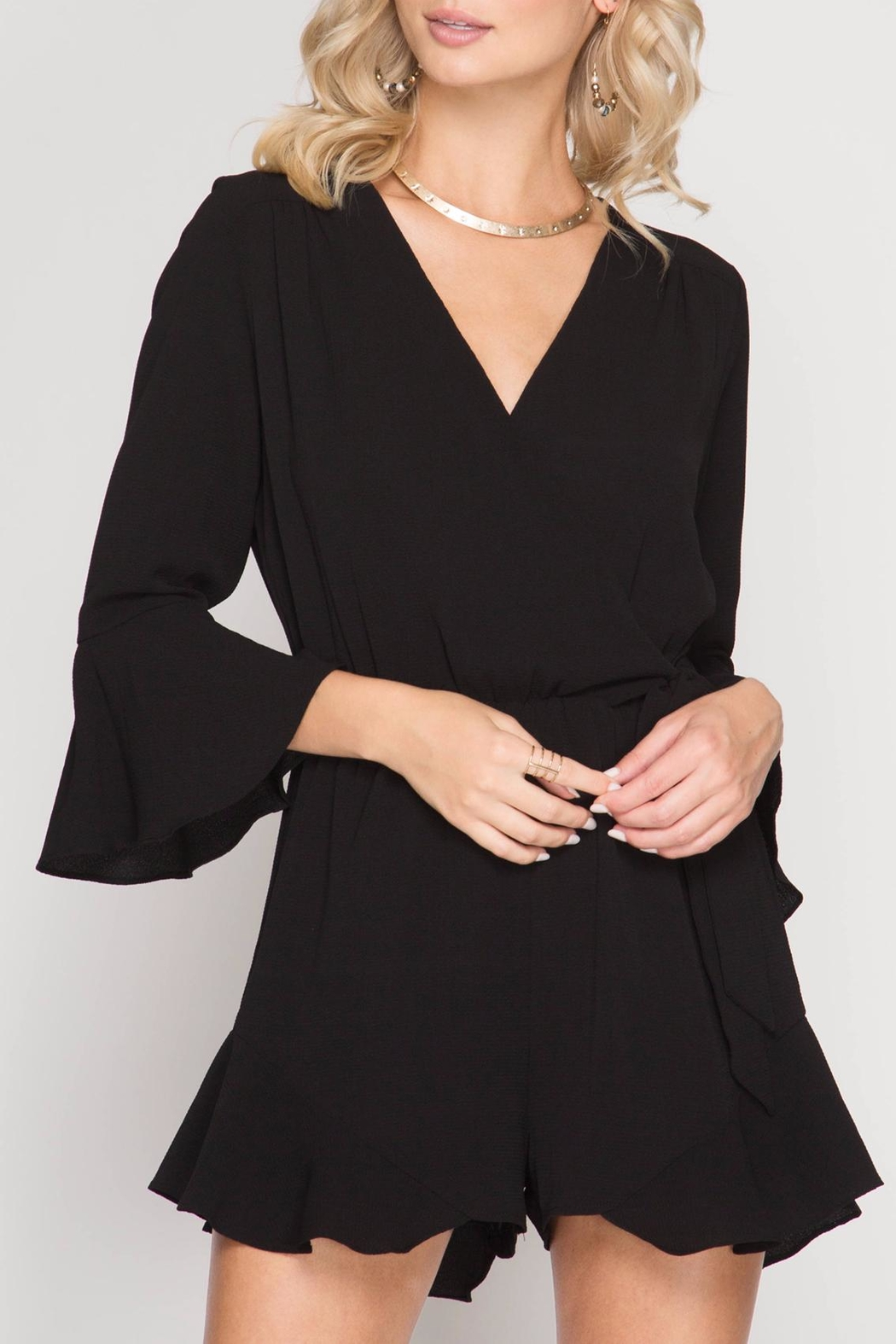 She + Sky Wrap Ruffle Romper - Front Cropped Image