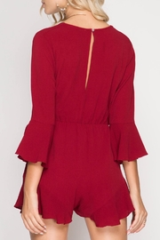 She + Sky Wrap Ruffle Romper - Front full body