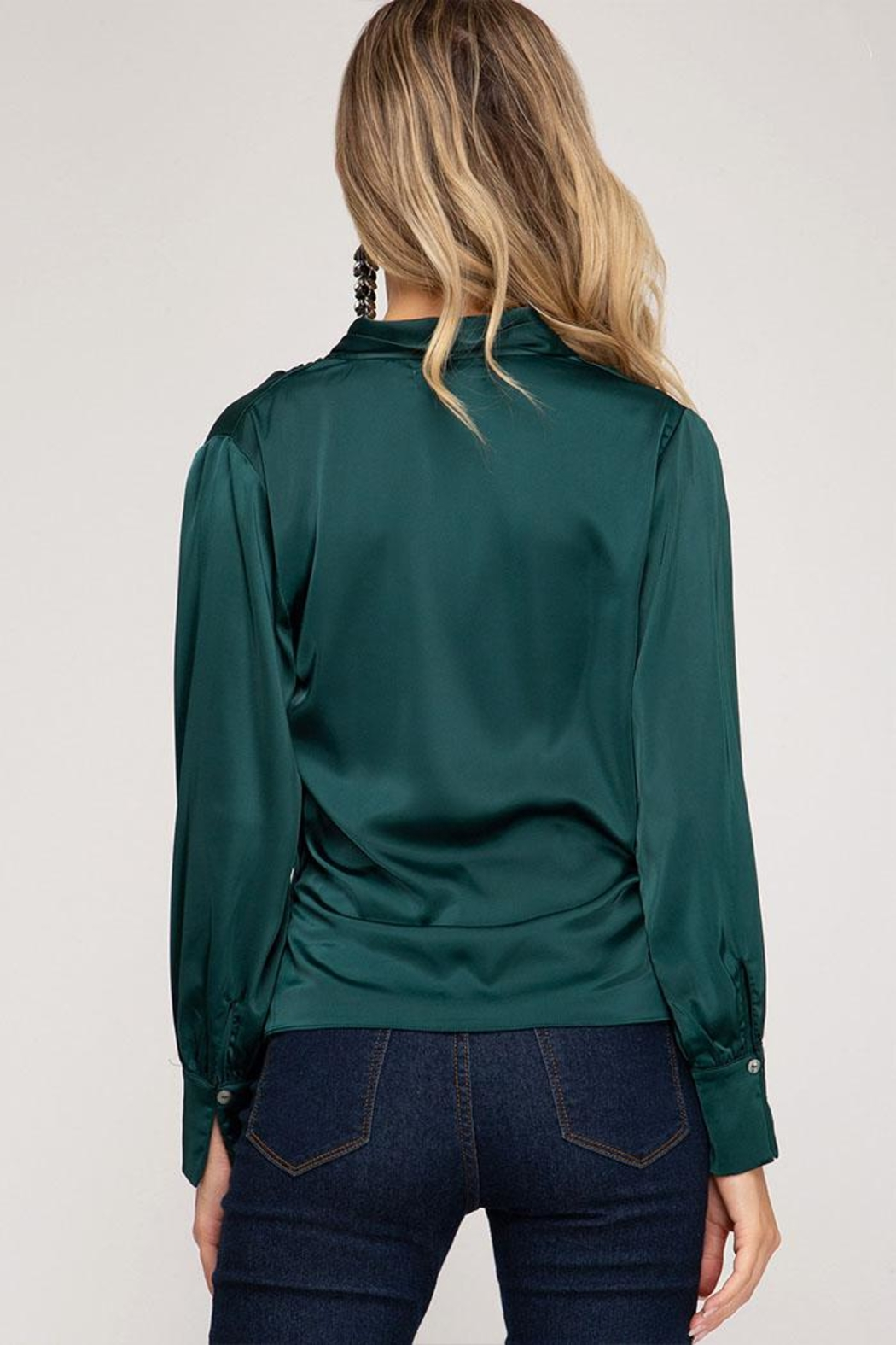 She + Sky Wrapped Satin Blouse - Side Cropped Image