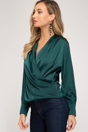 She + Sky Wrapped Satin Blouse - Front full body