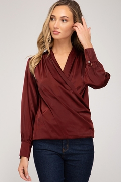 She + Sky Wrapped Satin Blouse - Product List Image