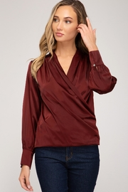 She + Sky Wrapped Satin Blouse - Product Mini Image