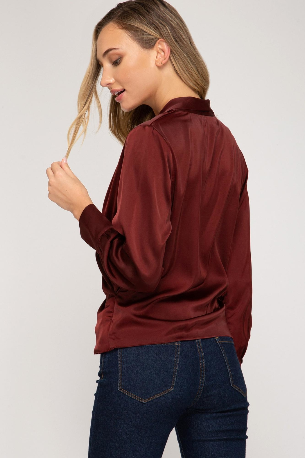 She + Sky Wrapped Satin Blouse - Front Full Image